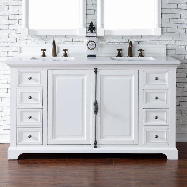 Ogallala 60 Double Undermount Sink Cottage White Bathroom Vanity Set by Greyleigh