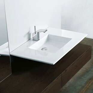 Best Reviews Techno Ceramic Rectangular Vessel Bathroom Sink with Faucet By WS Bath Collections