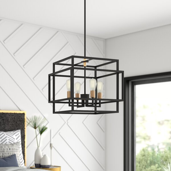 Dewees 4 - Light Candle Style Rectangle / Square Chandelier by Mercury Row Mercury Row