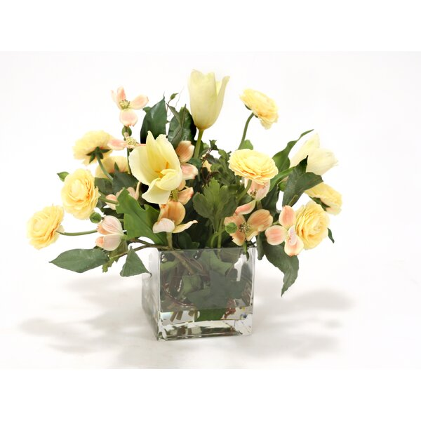 Waterlook Soft Dogwood, Tulips and Ranunculus in Square Glass by Distinctive Designs