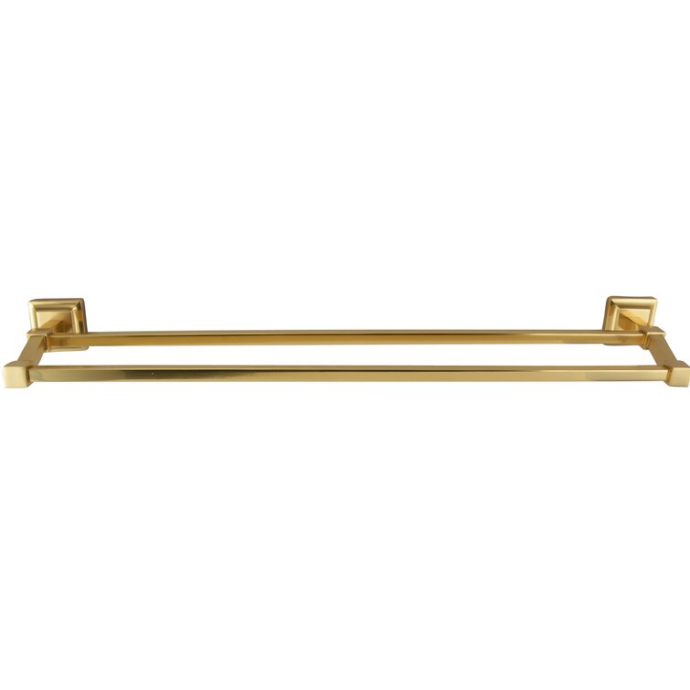 "Gold bathroom brass double towel bar With flowers  26/""Length"