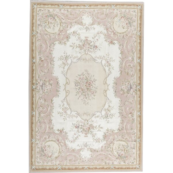 Aubusson Oriental Hand-Knotted Wool Ivory/Rose Area Rug
