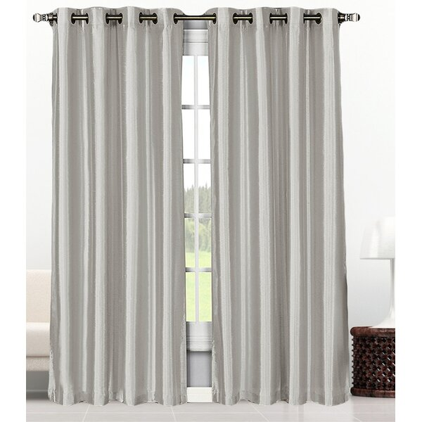 Onley Solid Semi-Sheer Grommet Curtain Panel (Set of 2) by Greyleigh