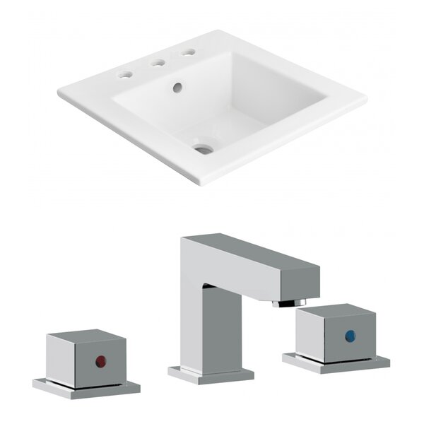 3 Hole Ceramic Rectangular Drop-In Bathroom Sink with Faucet by American Imaginations