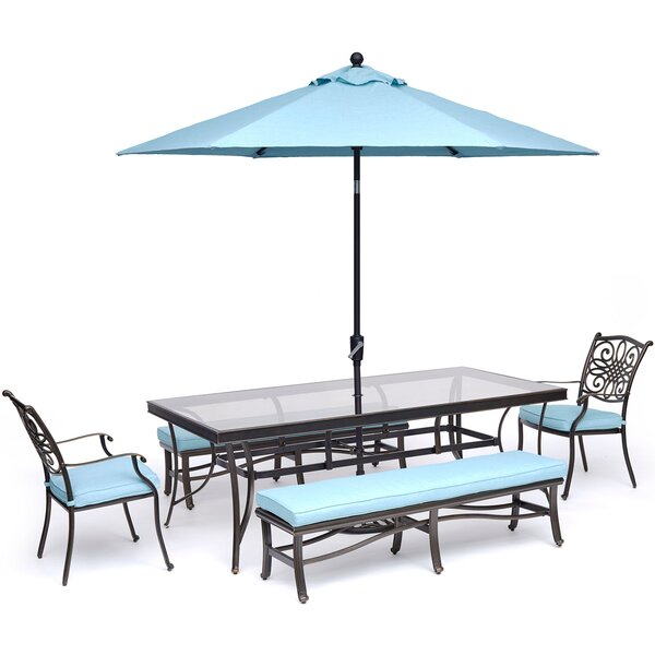 Carleton Outdoor 6 Piece Dining Set by Fleur De Lis Living
