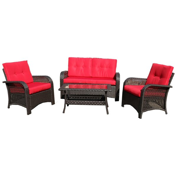 Pisuth 4 Piece Rattan Sofa Seating Group with Cushions by Red Barrel Studio