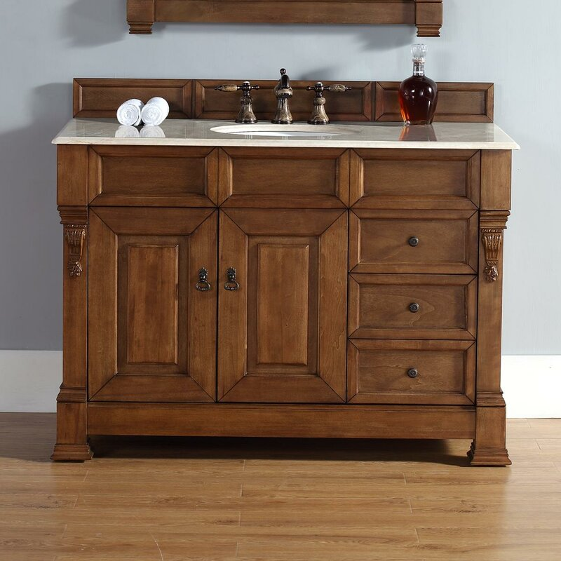 "darby home co bedrock 48"" single country oak bathroom vanity set"