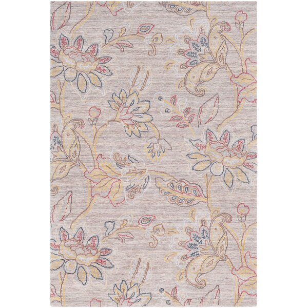 Arata Floral Hand-Tufted Wool Ivory Area Rug by Charlton Home