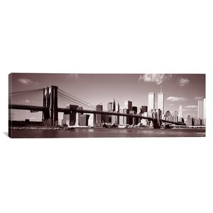 'Images Brooklyn Bridge, Hudson River, New York City, New York State' Photographic Print on Wrapped Canvas by East Urban Home