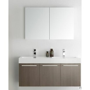 Shop For Senza 48 Vista Double Wall Mounted Modern Bathroom Vanity Set with Mirror By Fresca