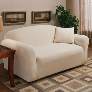Stretch Microfleece Box Cushion Loveseat Slipcover