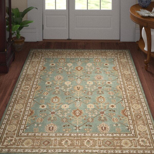 Wayland Hand-Hooked Blue/Taupe Area Rug by Three Posts
