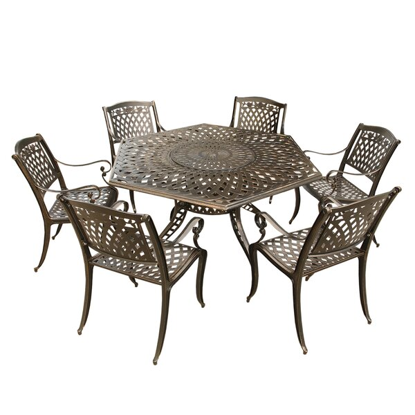 Cassidy Rose Ornate Traditional Outdoor Mesh Lattice 7 Piece Dining Set by Fleur De Lis Living
