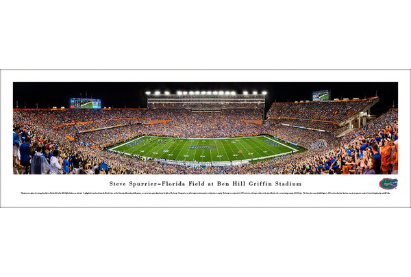 NCAA Florida Gators Football 50 Yard Line Photographic Print by Blakeway Worldwide Panoramas, Inc