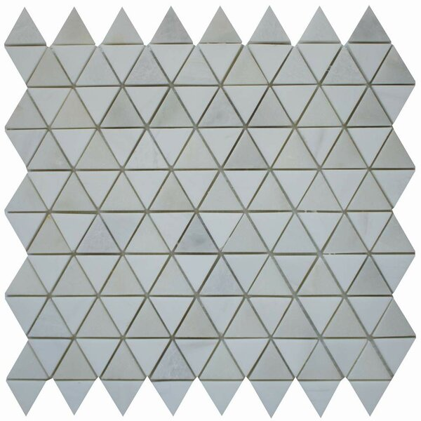 Diamantes 0.38 x 0.38 Marble Mosaic Tile in White/ Calacatta by Ephesus Stones
