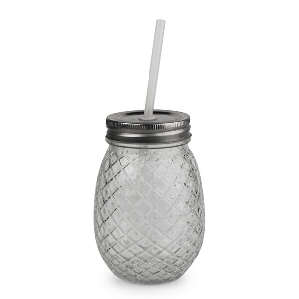 Aberdeen Pineapple 16 oz. Glass Mason Jar (Set of