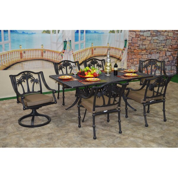 Maccharles 7 Piece Dining Set with Cushions by Bayou Breeze