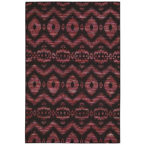 Pine Grove Hand-Woven Burgundy/Black Area Rug by Bloomsbury Market