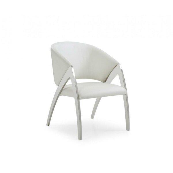 Harbaugh Upholstered Metal Arm Chair in White by Orren Ellis Orren Ellis