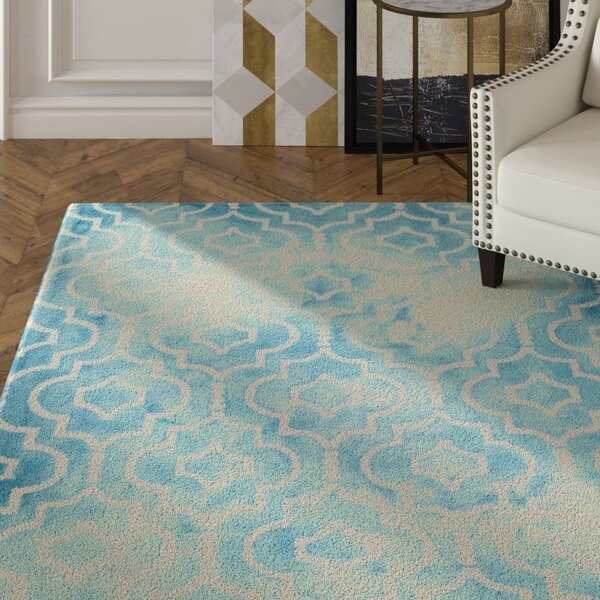 Hand-Tufted Turquoise/Ivory Area Rug by House of Hampton