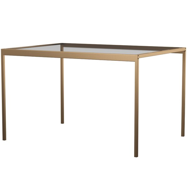 Wickliffe Glass and Metal Dining Table by Mercury Row