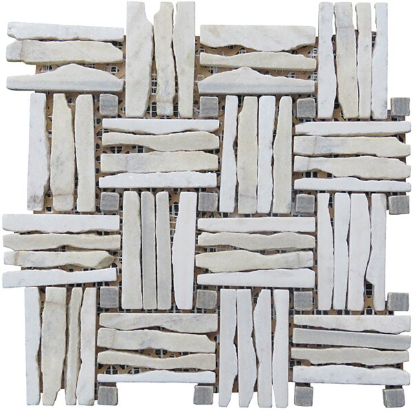 Landscape Wonder 12.5 x 12.5 Quartzite Basketweave Natural Stone Blend Mosaic Tile in Gray and White by Intrend Tile