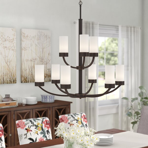 Sanderson 9-Light Shaded Tiered Chandelier by Andover Mills Andover Mills