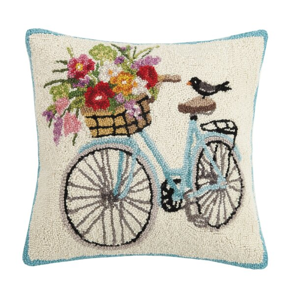 Minton Spring Bike Wool Throw Pillow by August Grove