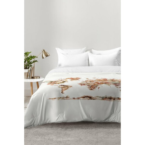 World Map Watercolor Comforter Set By East Urban Home