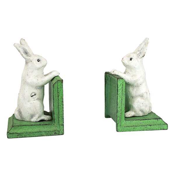 Bookworm Bunny Rabbits Cast Iron Sculptural Bookend (Set of 2) by Design Toscano