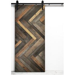Herringbone Solid Wood Room Dividers Slab Interior Barn Door
