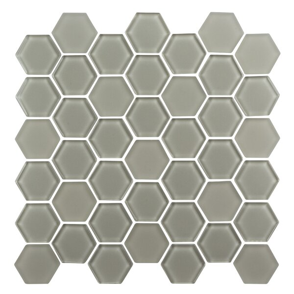 Pure Hexagon 2 x 2 Glass Mosaic Tile in Latte by Madrid Ceramics