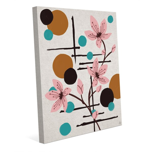 Winding Flowers and Moons Painting Print on Wrapped Canvas by Click Wall Art