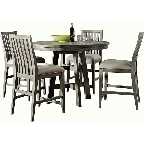 Pingree 5 Piece Counter Height Solid Wood Dining Set by Brayden Studio