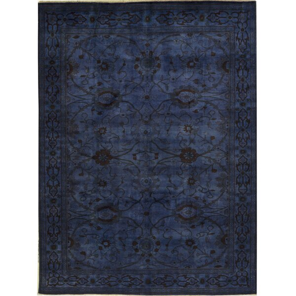 Oriental Hand-Knotted Wool Navy Area Rug