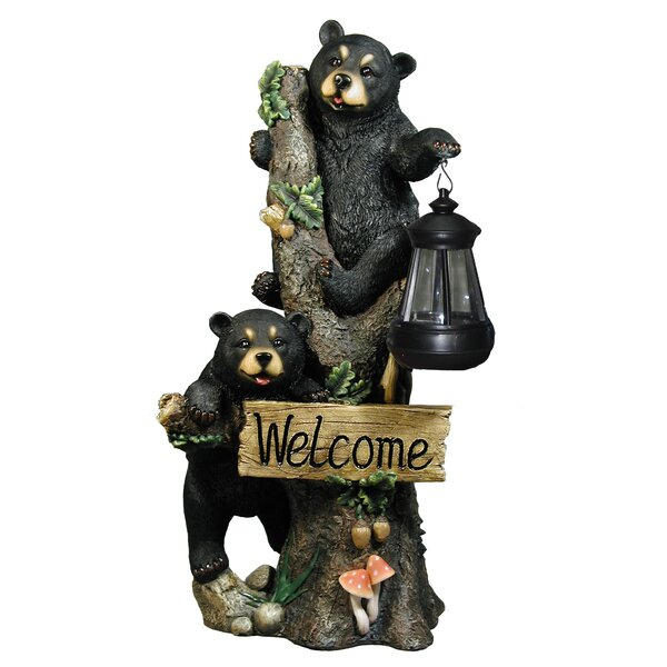 Isaak Bear Cubs Climbing Welcome Sign Lantern Figurine by Loon Peak