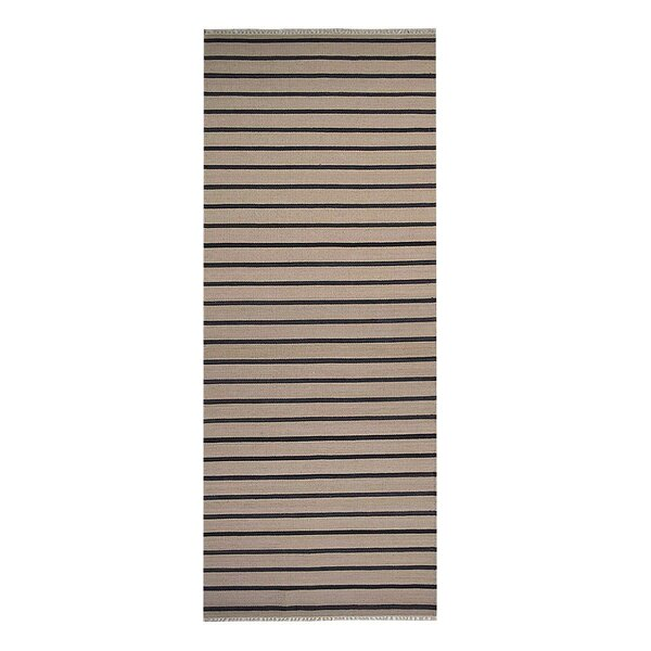 Winterton Handmade Kilim Wool Cream/Charcoal Area Rug by Breakwater Bay