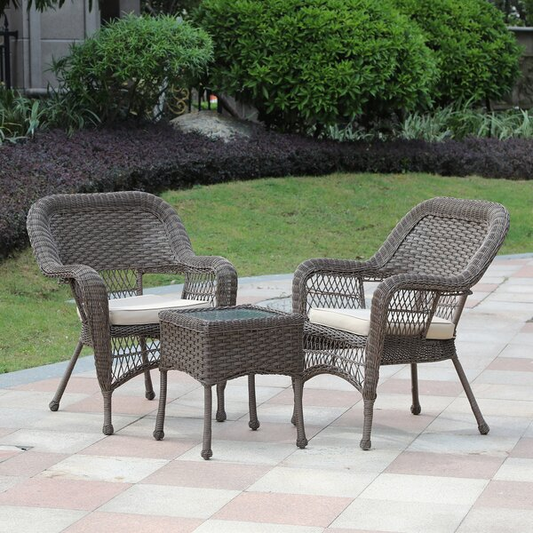 Rembert 3 Piece Rattan Seating Group with Cushions by August Grove