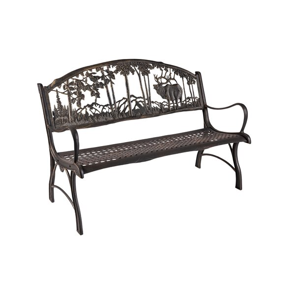 Hennessy Elk Cast Iron Park Bench by Loon Peak