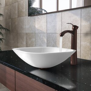 Elegant White Phoenix Glass Square Vessel Bathroom Sink With Faucet