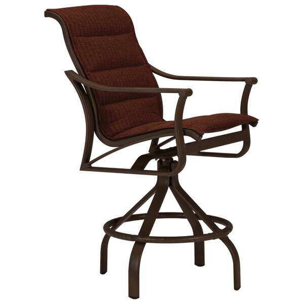 Corsica Swivel 26 Patio Bar Stool with Cushion by Tropitone