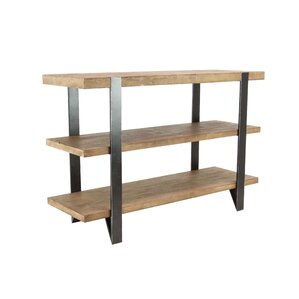 Allman Modern Fir Wood and Iron 2-Tiered Rectangular Console Table by Foundry Select