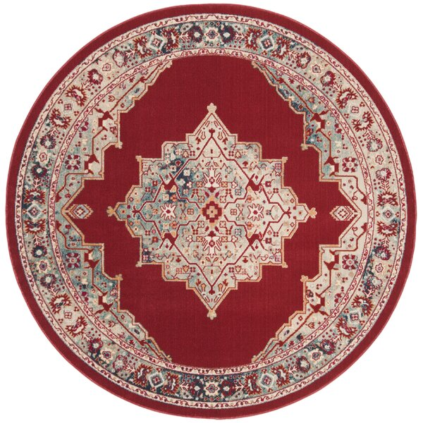 Doucet Red/Aqua Area Rug by Bungalow Rose