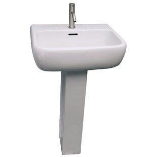 Metropolitan 420 Vitreous China Rectangular Pedestal Bathroom Sink with Overflow Barclay