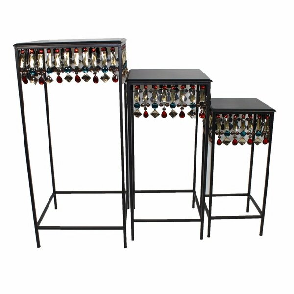 Cossette Squared Metallic 3 Piece Nesting Tables By World Menagerie