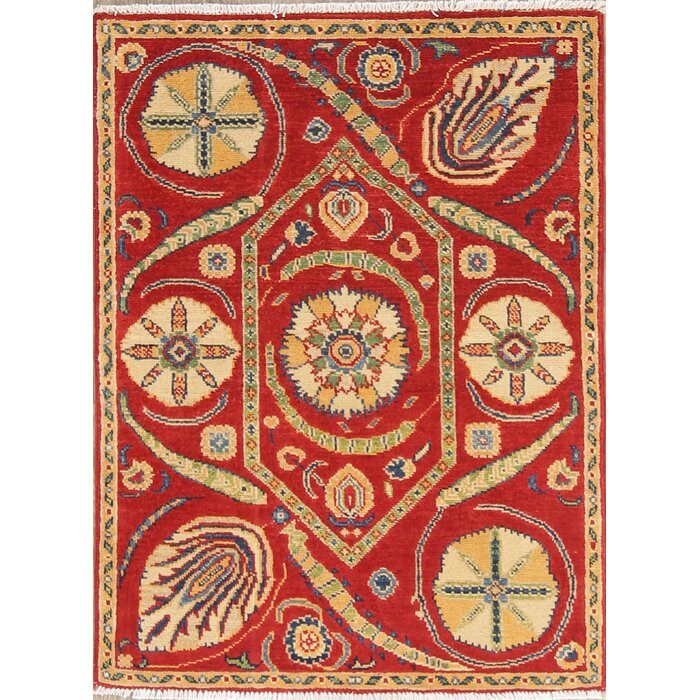 One Of A Kind Art And Craft Mission Style Kazak Stan Hand Knotted 2 8 X 3 6 Wool Red Area Rug