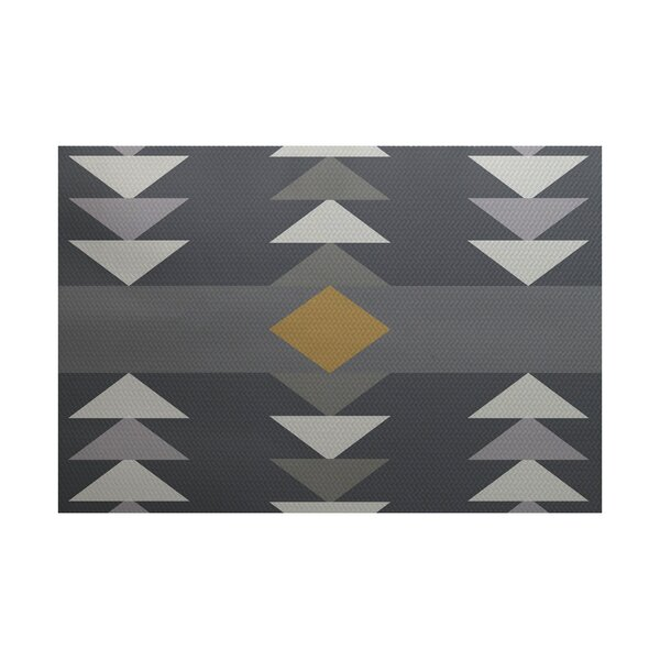 Poole Geometric Print Gray Indoor/Outdoor Area Rug by Ivy Bronx