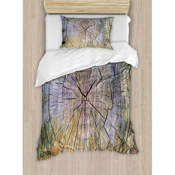 Annual Rings of Wood Growth Dirty Inner Tree Body Branch Whorls Width Design Duvet Set by Ambesonne