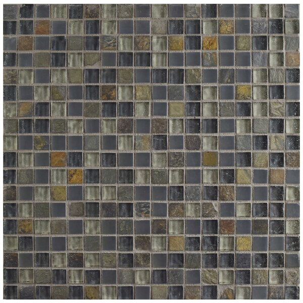 Sierra 0.58 x 0.58 Glass and Natural Stone Mosaic Tile in Brown/Blue by EliteTile