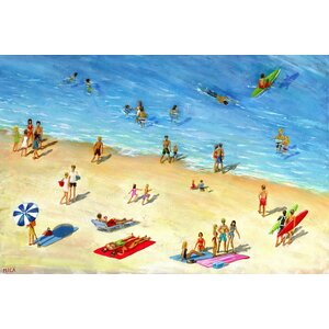 'Fun at the Beach' Painting Print on Wrapped Canvas by Marmont Hill